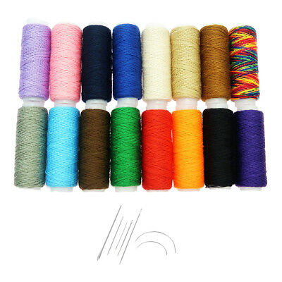 7pcs Steel Needles Set with Colorful Polyester Strong Thread for Hand Sewing