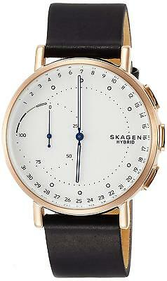 Skagen SKT1112 Men's Hybrid Smartwatch 42mm Rose-Tone Black Leather Watch