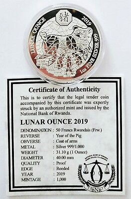 2019 Rwanda-Ruanda Lunar Series 'YEAR OF PIG-SCHWEIN',1 oz PP-Proof Silber & COA