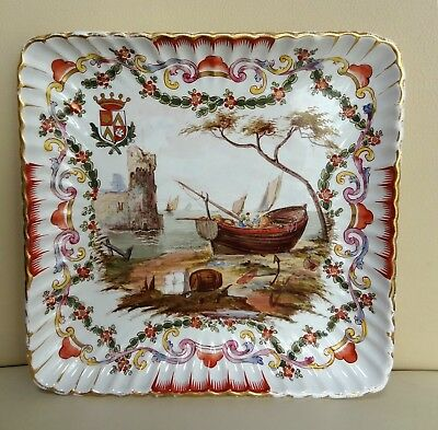 Hand Painted Lille 1767 Porcelain Dish with Shipping Scene