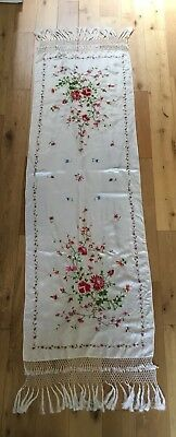 Vintage Chinese Cantonese Macrame Edge Silk Floral Embroidered Ivory Shawl Scarf