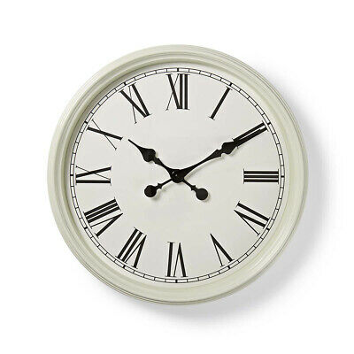 Nedis Wall Clock 50cm Antique Style White School Railway Lounge Waiting Room