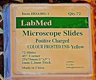 Lab Med Microscope Slides 72 Qty Positive Charged Frosted End Yellow HDA001-Y