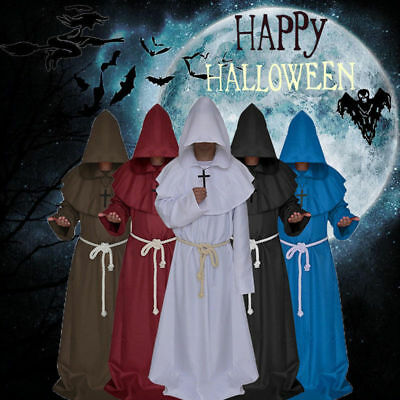 Friar Medieval Cowl Hooded Monk Renaissance Priest Robe Costume Cosplay 4 Colors