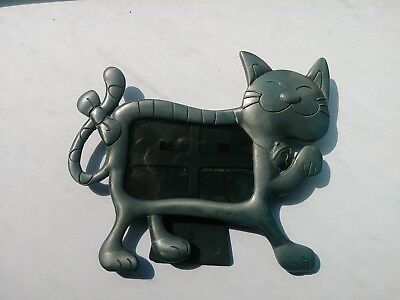 Pewter Tone Metal Cat Kitten Figure Picture Photo Frame