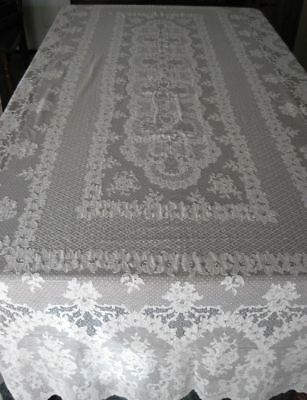 Antique Alencon Tablecloth Made in France Iris Floral LARGE