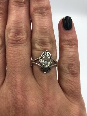 Beautiful Vintage Sterling Silver 925 KBN Kabana Clear Oval Filigree Ring,