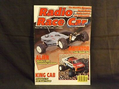 Radio Race Car International Magazine March 1990. Tamiya King Cab. Hirobo Alien.