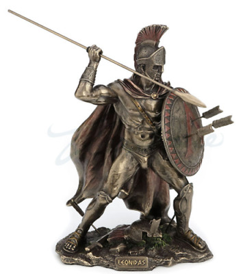 Spartan Soldier Sculpture With Spear and Shield Statue Figurine - GIFT BOXED