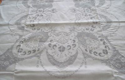 Embroidered Appenzell Tablecloth 12 Napkins Figural Women Cherubs Peacocks LG