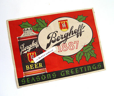 Classy Early Vintage Old Original Berghoff Beer Cone Top Can Advertising Sign