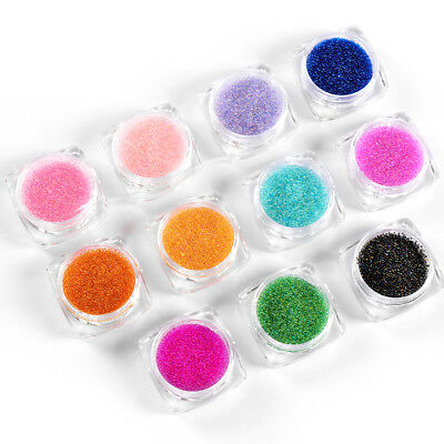 12 Colors Caviar mini Balls Micro Beads Nail Art Acrylic UV 3D Decoration Set