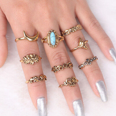 9pcs/Set Vintage Metal Turquoise Geometric Ring Alloy Silver Rings Jewelry S