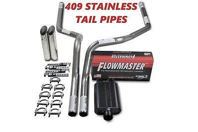 """Ford F150 15-18 2.5/"""" Dual Exhaust Kit Flowmaster 40 Series weld on tips"""