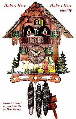 Hubert Herr,  new all wood musical 1 Day  cuckoo clock with kissing couple plus.