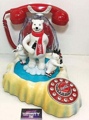 Coca Cola Animated Polar Bear Phone Telephone PRE-OWNED Clean 90s