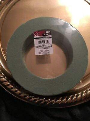 Floral Foam Circle by DRY À SEC, 7.9 X 1.5 Inches Round, Green Ring Shape