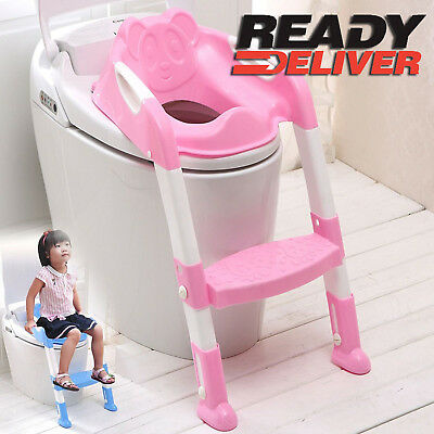 Teddie Kids Baby Child Toddler Potty Loo Training Toilet Seat & Step Ladder Pink
