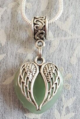 Green Adventurine Gemstone Heart With Angel Wings Charm Pendant On Sp Necklace