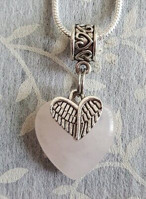 Rose Quartz Gemstone Heart With Angel Wings Charm Pendant 50Cm Necklace Chain