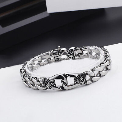 Heavy Stainless Square Curb Chain Link Bracelet Men Silver Tone Bangle Wristband