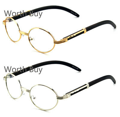 New Mens Womens Clear Lens Glasses Vintage Retro Gangster Frame Oval Wood Buffs
