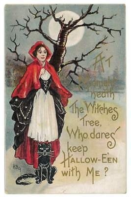 1914 Halloween Postcard Red Cape Black Cat Witch Moon L & E 2272 Embossed