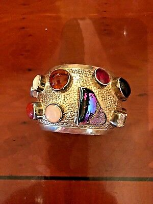 Vintage custom made sterling silver bracelet  cuff  with semiprecious stones