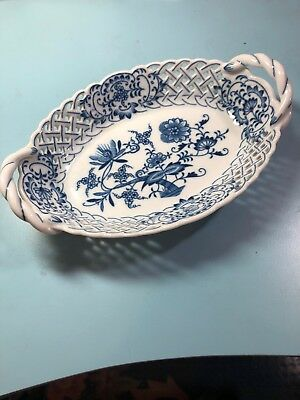 Original BOHEMIAN ZWIEBELMUSTER Blue Onion Oval Basket