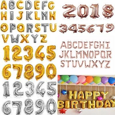 "16"" 40"" Silver Gold Letter Number Foil Balloon Wedding Celebration Party Decor##"