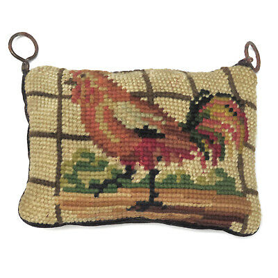 Antique Sewing Pincushion ROOSTER Needlepoint c. 1900
