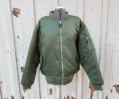 Vintage 1990s Semi Truck Embroidered Patch Men's Bomber Jacket Size Large Green