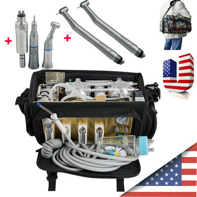 USA Portable Dental turbine Unit Bag Air Compressor Suction System Handpiece Kit