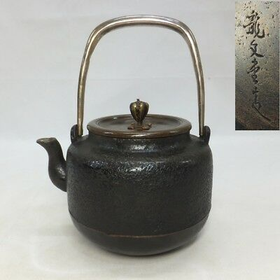 F808: Japanese old copper kettle like iron called SHOSHA-BIN by famous RYUBUN-DO