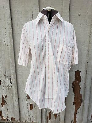 Vintage 60s/70s Dectolene Knits by Arrow Men's Shirt Factory Stamped White Red