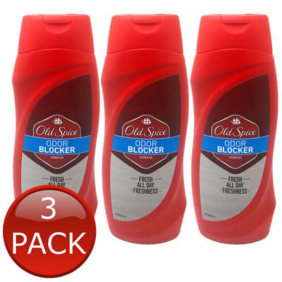 3 x OLD SPICE SHOWER GEL ODOR BLOCKER FRESH ALL DAY ODOUR TERRY CREWS BODY 250ml