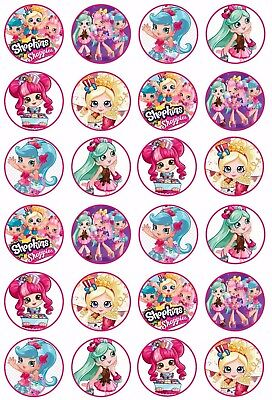 24 x SHOPKINS SHOPPIES Wafer Rice Paper Cupcake Toppers EDIBLE GIRLS CAKE COOKIE