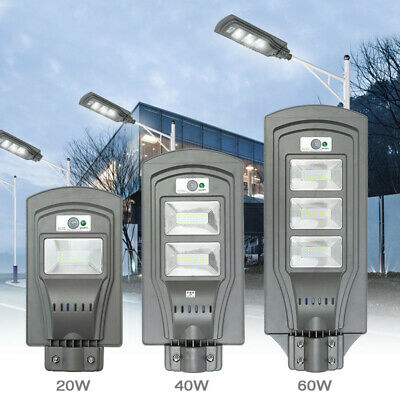 20W/40W/60W LED Solar Powered Outdoor Wall Street Light PIR Motion Sensor Lamp