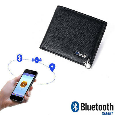 Cowhide Leather Smart Wallet Card Holder Men Bluetooth Two Way Alarm Anti-Theft