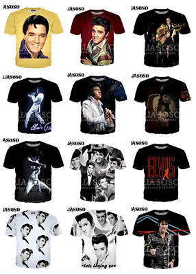 New Womens mens 3D print Singer Elvis Presley Short Sleeve Casual T-Shirt S-7XL