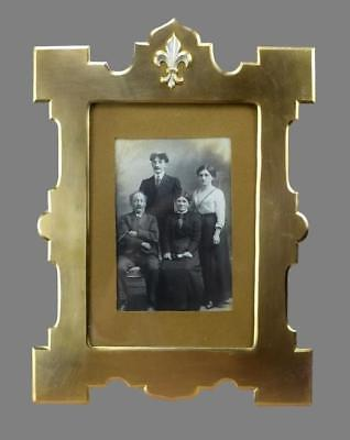 French Antique Brass Fleur de Lis Family Wedding Photo Wall Picture Frame