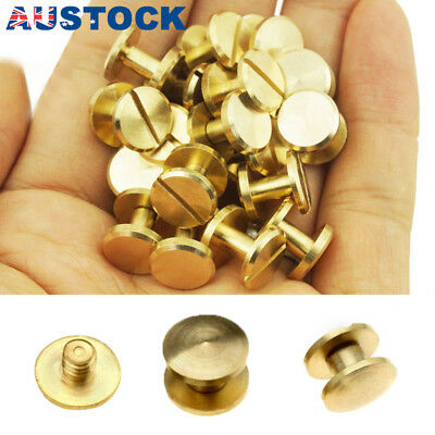10x Belt Screw Leather Craft Chicago Nail Brass Rivets Stud Head Wallet Round AU