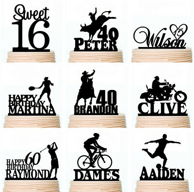 Happy Birthday Cake Toppers Personalised Sports Country Rustic Decorations