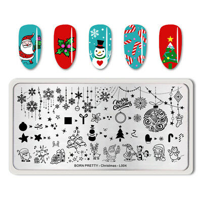 BORN PRETTY Nail Art Stamping Plates Merry Christmas Image Stamp Template Tool