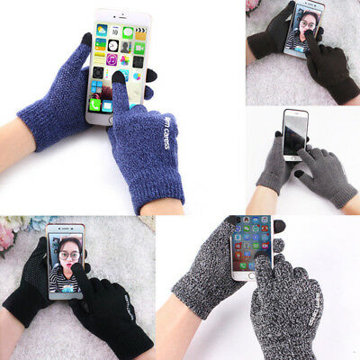 A Pair Of Men Women Winter Warm Fit Fleece Lined Thermal Knit Gloves Touchscreen