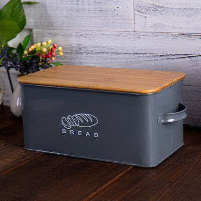 Retro Kitchen Space Saving Storage Box Large Bread Box with Eco Bamboo Board Lid