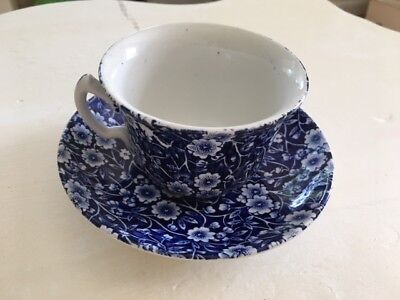 Staffordshire, Crownford (stamped) Blue Calico Cups and Saucer