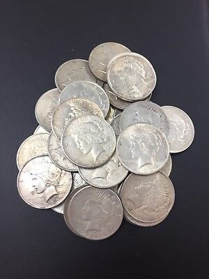 1922-1923 P D S Peace Silver One Dollar Coins Circulated