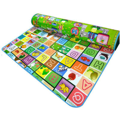 2 SIDE Baby Kids Crawling Mat Soft Foam Educational Game Play Carpet 200X180CM