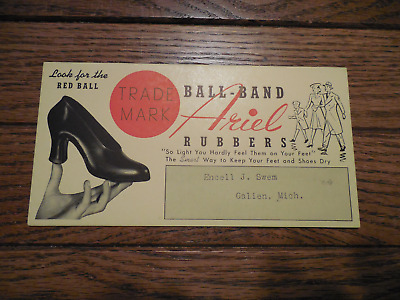 Blotter Red Ball Band Ariel Rubbers Galien Michigan Swem Vintage Advertising Ink